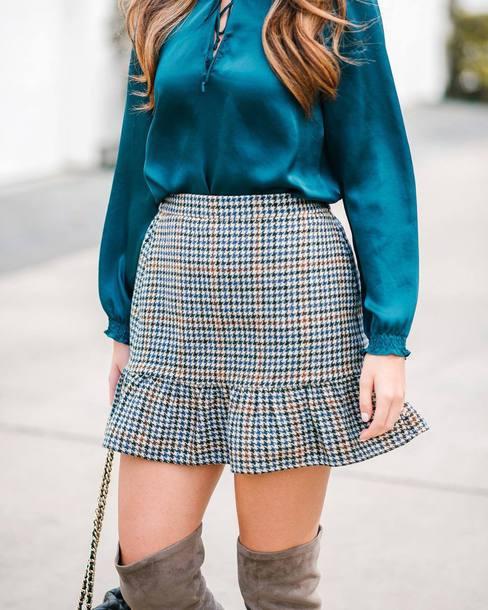skirt blue skirt blue blouse tumblr mini skirt houndstooth blouse