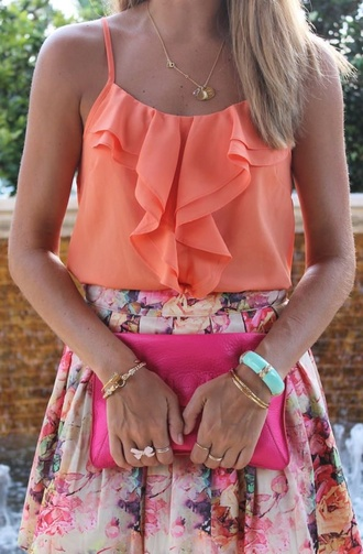 skirt pink floral necklace shirt ruffles summer