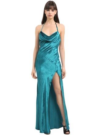dress slip dress long velvet turquoise