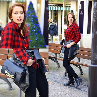 blouse plaid lookbook blogger red black streetwear it girl shop spikes streetstyle fall outfits casual style