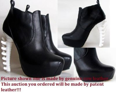 Bone heel pu leather ankle boots us6