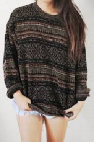 sweater vintage bohemian tribal pattern ethno oversized pullover pattern second hand hipster hippie indie