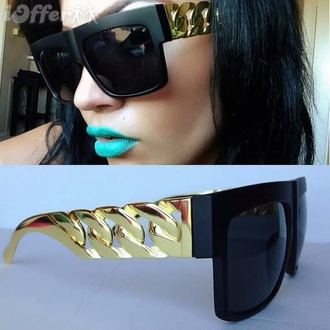sunglasses gold make-up matte black black chain lennithelabel fashion clubwear streetwear style exceptionally