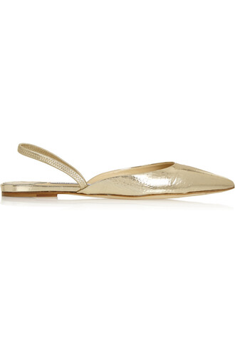 snake flats leather gold shoes