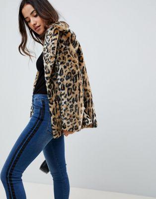 ASOS DESIGN animal faux fur coat at asos.com