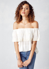 top,lovestitch,boho,bohemian,eyelet,off-white,small,medium,large,effortless,feminine,cute,white,rayon,summer,beach,summer vibe,embroidered,off the shoulder,scalloped,embellished,staple tops