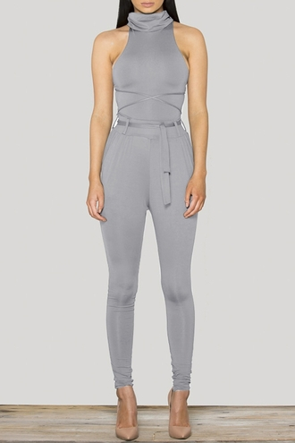 jumpsuit romper grey zaful streetstyle high neck bodysuit bodycon sexy sleeveless fall outfits streetwear