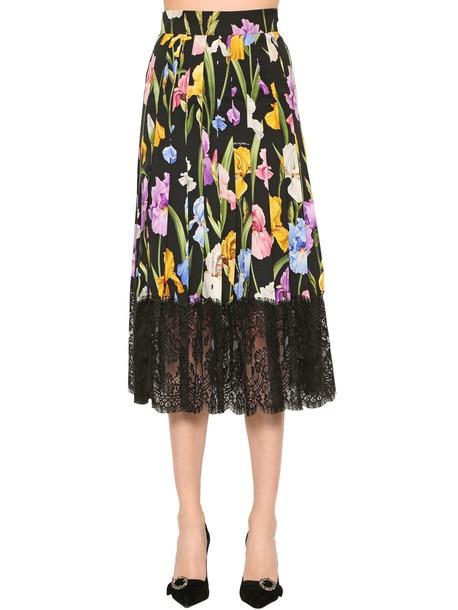 DOLCE & GABBANA Stretch Silk Charmeuse & Lace Skirt