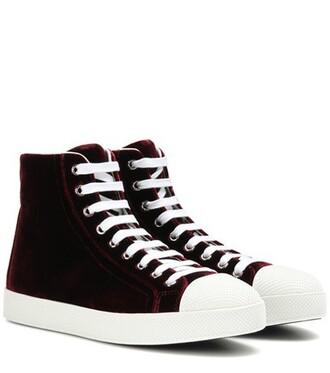 high sneakers velvet red shoes
