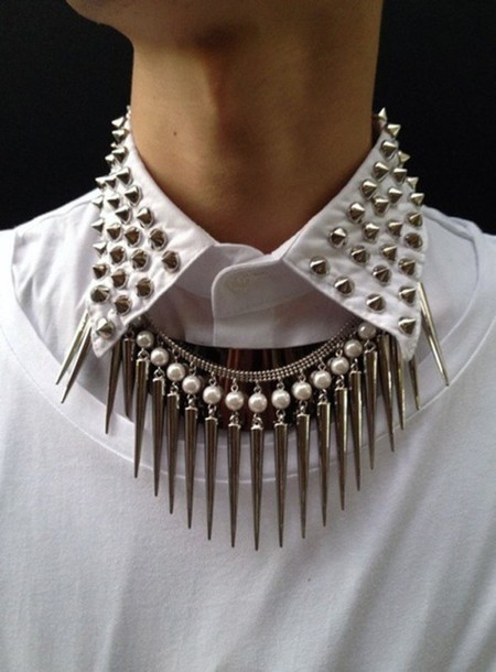 jewels necklace goth spikes