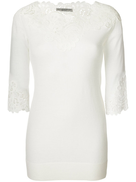 Ermanno Scervino - embroidered lace detailed sweater - women - Acrylic/Polyester/Wool/Virgin Wool - 40, White, Acrylic/Polyester/Wool/Virgin Wool