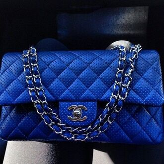 bag vivid blue chanel purse quilted bag