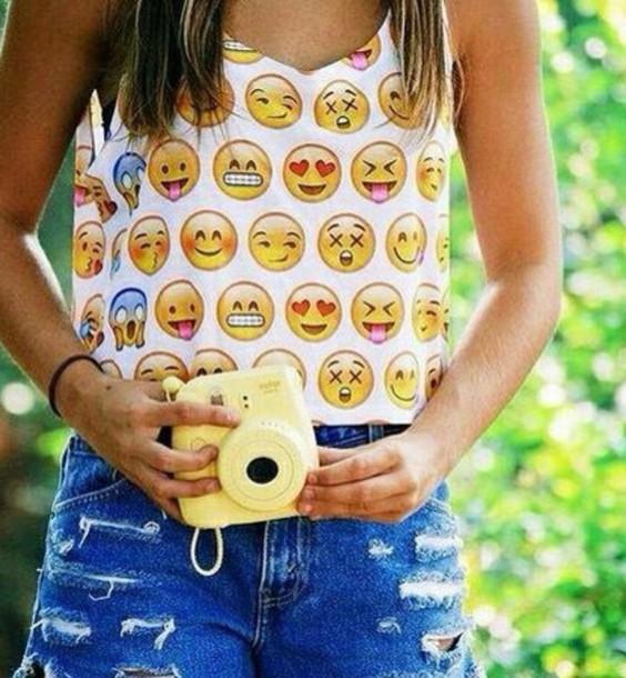 shirt crop tops emoji shirt printed crop top