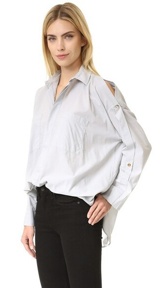 blouse open light grey top