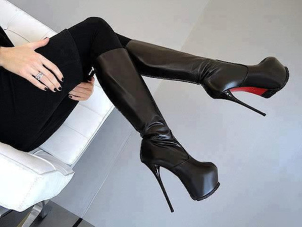 Shoes: black leather, high heels, platform high heels, platform ...