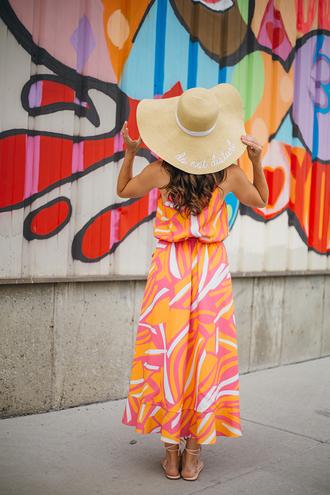 dress hat tumblr maxi dress long dress orange orange dress sun hat sandals flat sandals shoes