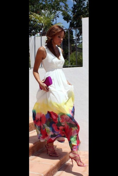 dress summer dress white dress floral dress maxi dress style