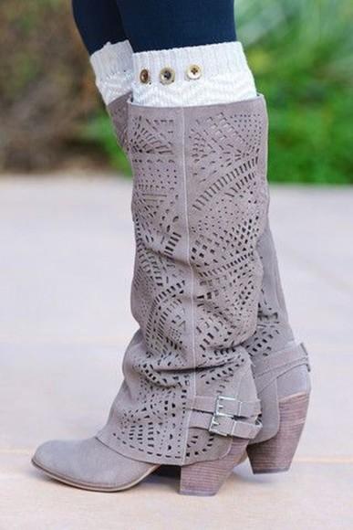 boots gray style heel mid calf buckle