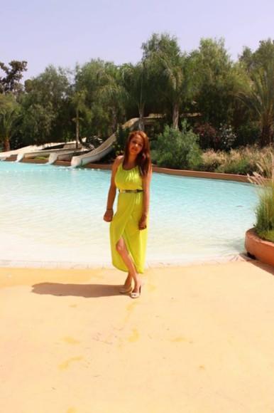 women summer dress draped dress gold Belt lime