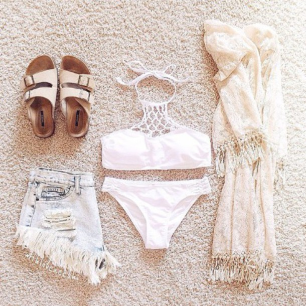 swimwear shorts scarf