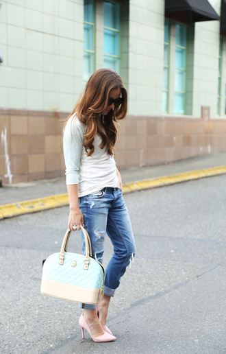 dress corilynn blogger quilted bag pastel ripped jeans stilettos spring outfits pastel bag