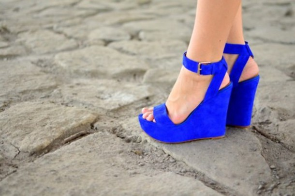 shoes blue wedges high heels straps