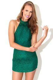 dress,halter neck,open back,tight,black,print,green