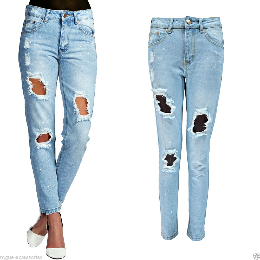 Relaxed skinny distressed ripped paint bleach stone wash denim jeans womens size