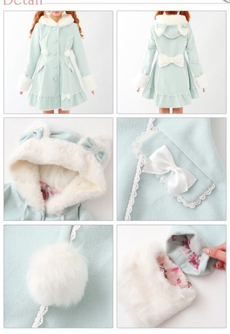 jacket kawaii cute lovely cat ears cats korean style korean fashion japanese japanese fashion bow floral soft fluffy