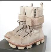 shoes,beige,winter boots,rick owens