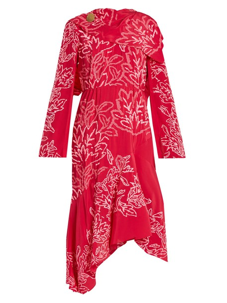 dress embroidered floral silk pink