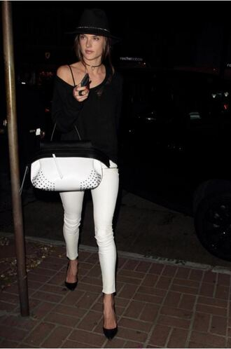 white jeans alessandra ambrosio model off-duty pumps bralette black and white bag