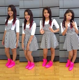 dress stripes black and white jumper romper shoes jumpsuit