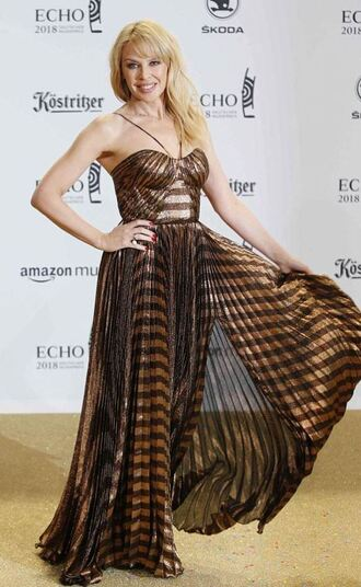 dress bronze dress kylie minogue gown maxi dress pleated brown metallic