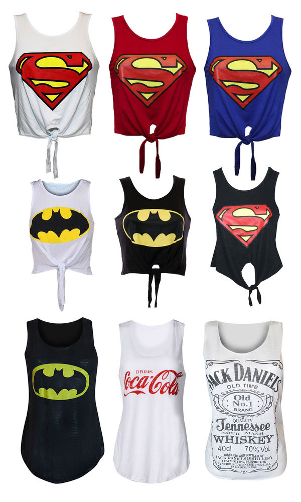 Ladies Womens Girl Superman Batman Logo Printed Crop Top T Shirt Vest s M M L | eBay