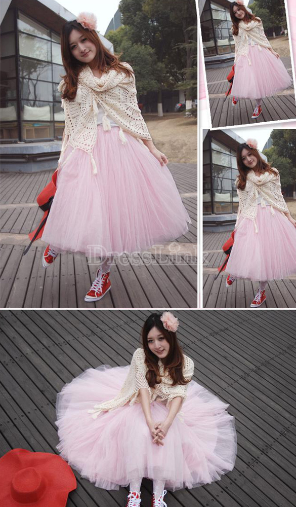 New Women Fashion Princess Fairy Style 5 layers Tulle Dress Bouffant Skirt 4 Colors