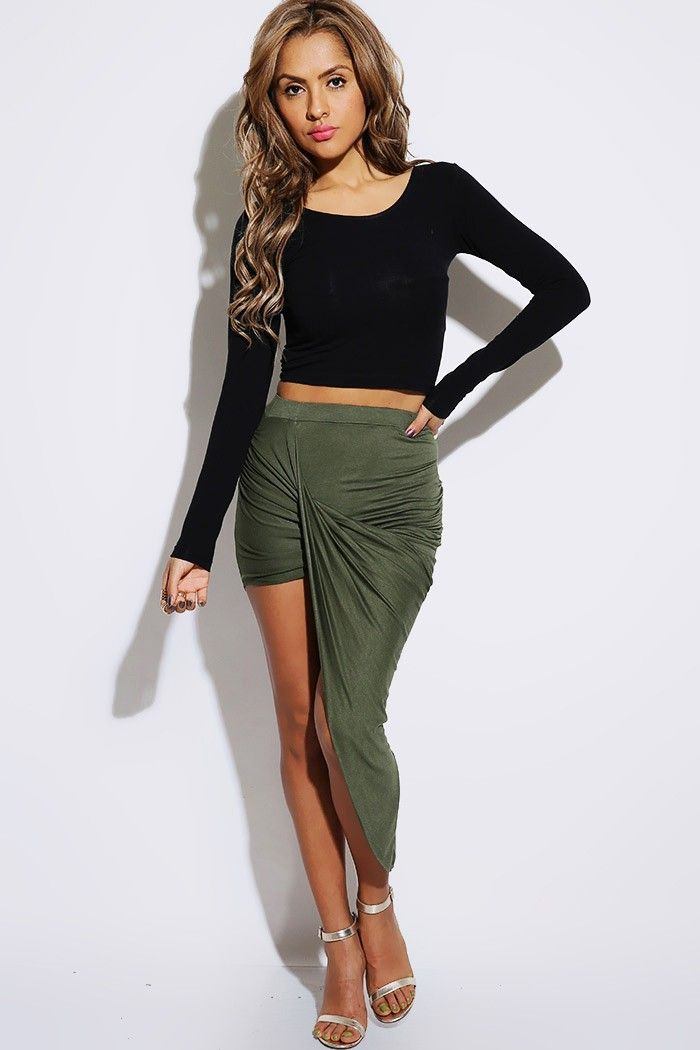 Draped front asymmetrical skirt