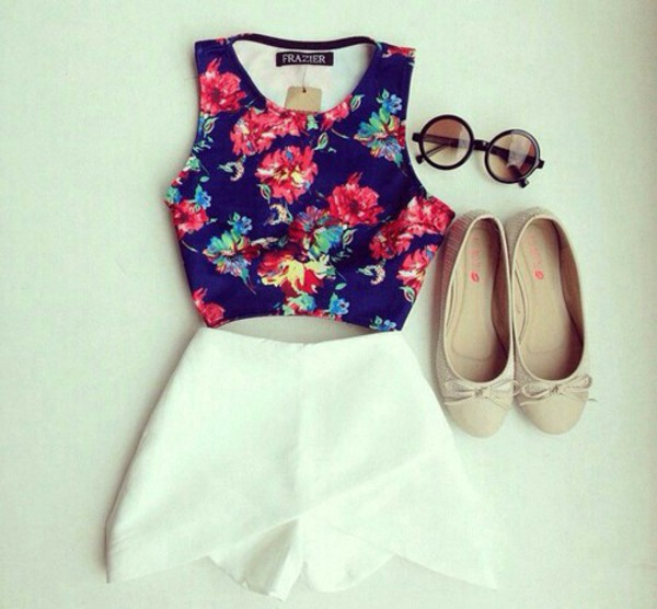 blouse shorts white cross fold shorts top floral skorts tank top shirt