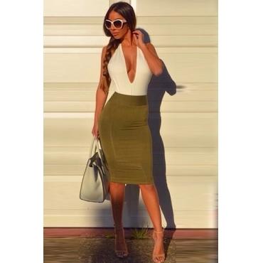 Tank sleeveless backless patchwork green knee length dress