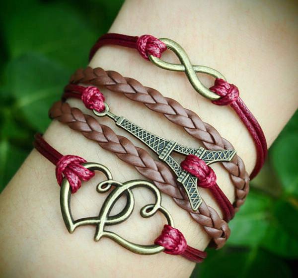 Handmade bracelet--Infinity Eiffel Tower & Heart to Heart ...