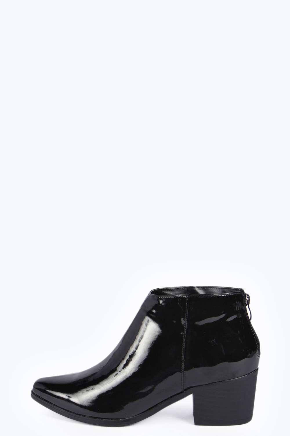 Jaxx pointed patent ankle boots