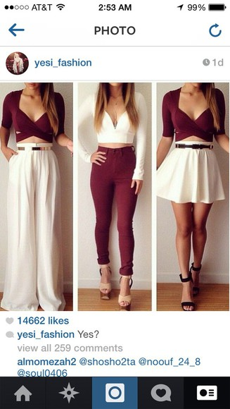 white pants burgundy crisscross burgundy pants burgundy top