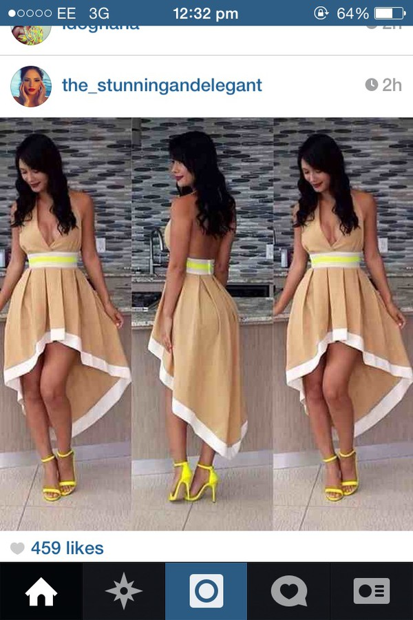 yellow yellow heels nude dress