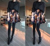 skirt,floral skirt,teen wolf,high waisted skirt,flowers,lydia martin
