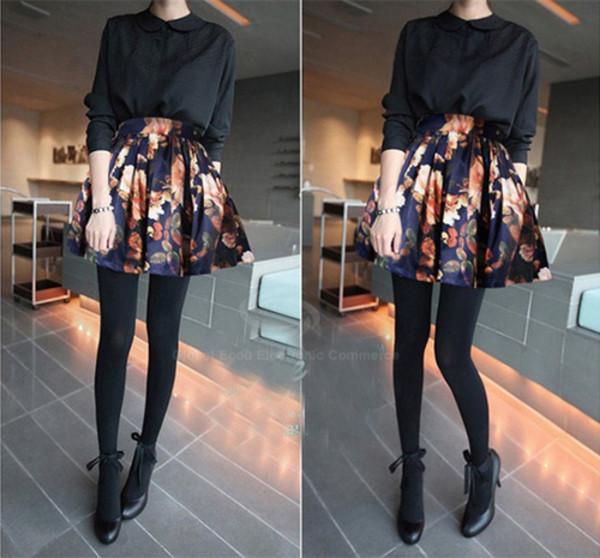skirt floral skirt teen wolf high waisted skirt flowers lydia martin