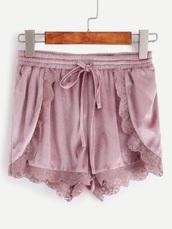 shorts,suede,velvet,pink,lace