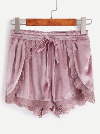shorts suede velvet pink lace