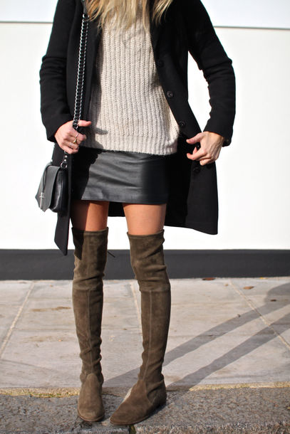 Thigh High Flat Suede Boots - Cr Boot