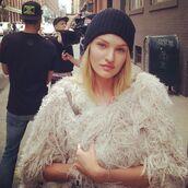 jacket,fringes,cream,candice swanepoel,fur,fur coat,white jacket,white,free people,model