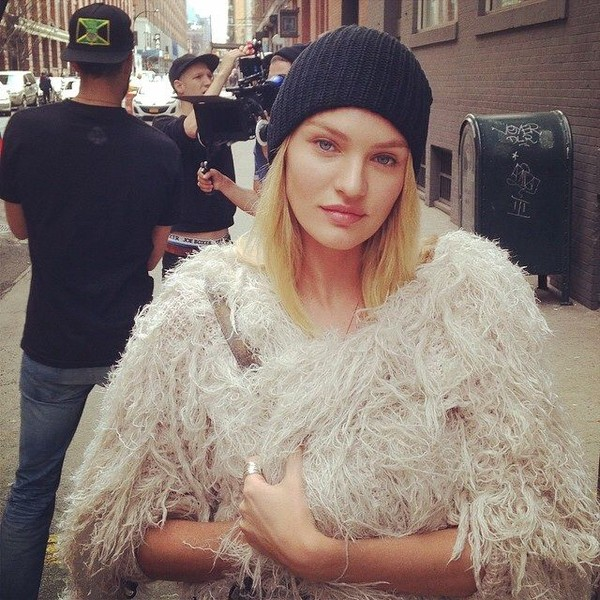jacket fringes cream candice swanepoel fur fur coat white jacket white free people model